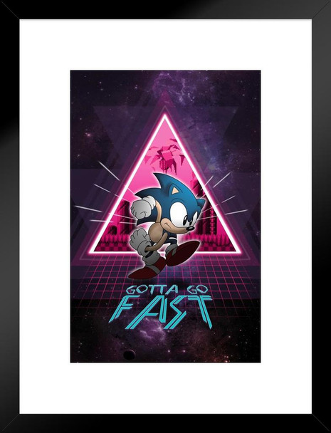 Sonic the Hedgehog Gotta Go Fast Neon Space Video Gaming Matted Framed Wall Art Print 20x26 inch