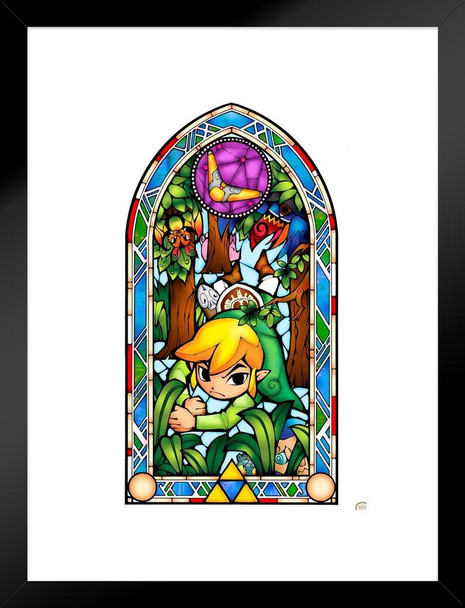 Legend Of Zelda Stained Glass Boomerang Video Gaming Matted Framed Wall Art Print 20x26 inch