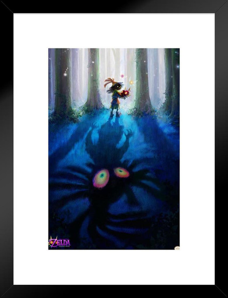 The Legend Of Zelda Majoras Mask Skull Kid Nintendo Video Game Matted Framed Wall Art Print 20x26 inch