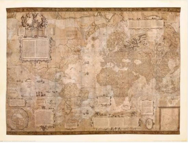 Map Of The World Gerardus Mercator Old World Antique Style Thick Cardstock Poster 31.5x23.5 inch