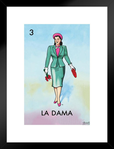 03 La Dama Woman Lady Loteria Card Mexican Bingo Lottery Matted Framed Wall Art Print 20x26 inch