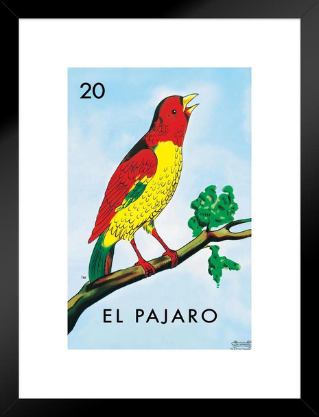 20 El Pajaro Bird Loteria Card Mexican Bingo Lottery Matted Framed Wall Art Print 20x26 inch