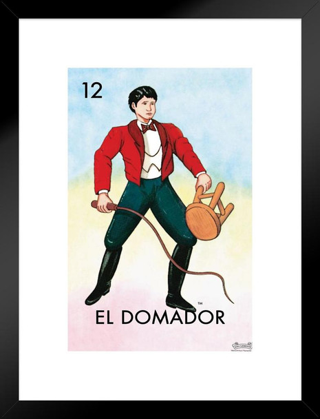 12 El Domador Lion Tamer Loteria Card Mexican Bingo Lottery Matted Framed Wall Art Print 20x26 inch