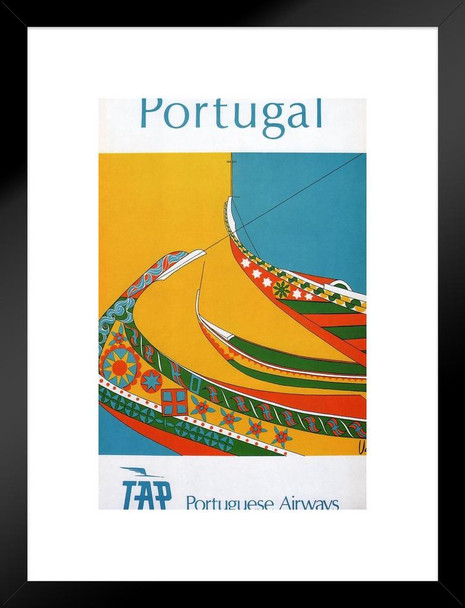 Portugal Portuguese Airways Vintage Travel Ad Matted Framed Wall Art Print 20x26 inch