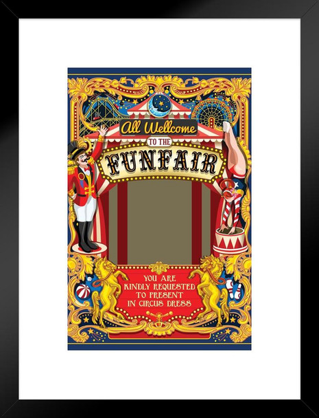 Circus Carnival Funfair Retro Do It Yourself Picture Frame Matted Framed Wall Art Print 20x26 inch