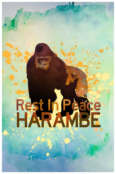 Rest In Peace Harambe The Gorilla Art Print Poster 12x18 inch