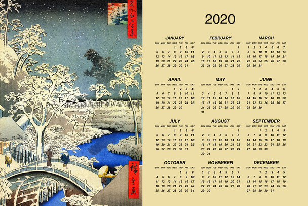 Kaiju At Meguro Drum Bridge Utagawa Hiroshige Art Humor 2020 Calendar Poster 12x18 Inch
