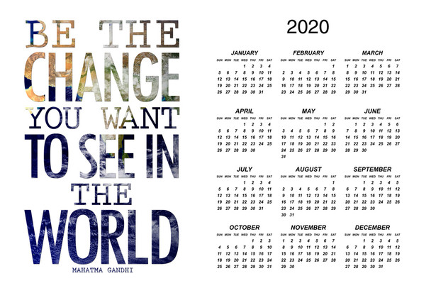 Mahatma Gandhi Be The Change You Want To See In The World 2020 Calendar Poster 12x18 Inch