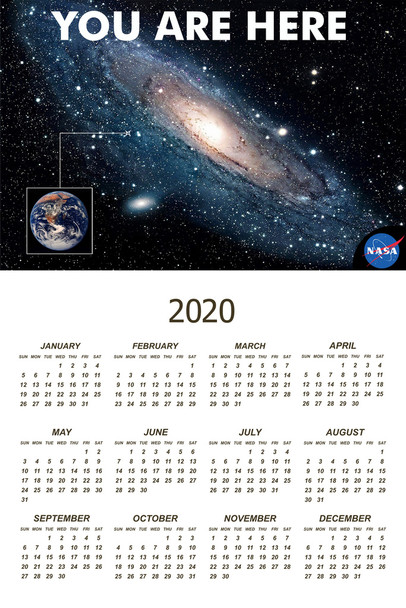 You Are Here Galaxy Retro NASA 2020 Calendar Poster 12x18 Inch
