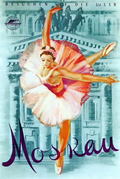 Moskau Moscow Russia USSR German Ballet Ballerina Vintage Dance Mural Giant Poster 36x54 inch