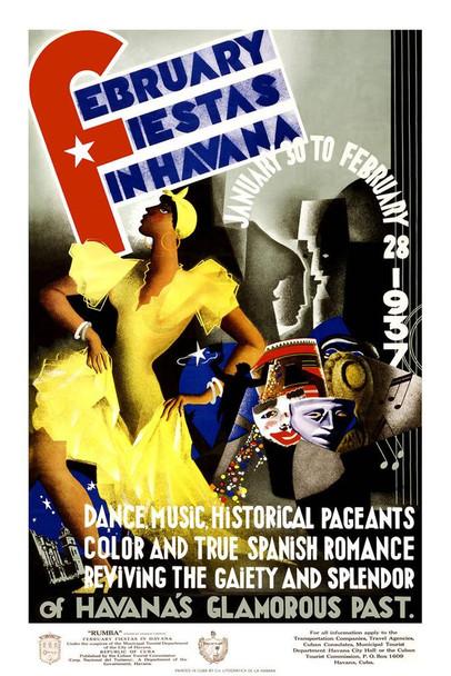 February Fiestas Havana Cuba 1937 Dance Music Vintage Travel Mural Giant Poster 36x54 inch
