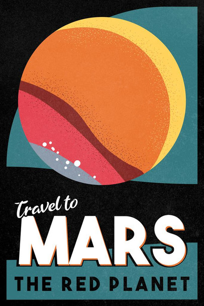 Mars The Red Planet Retro Fantasy Travel Space Mural Giant Poster 36x54 Inch