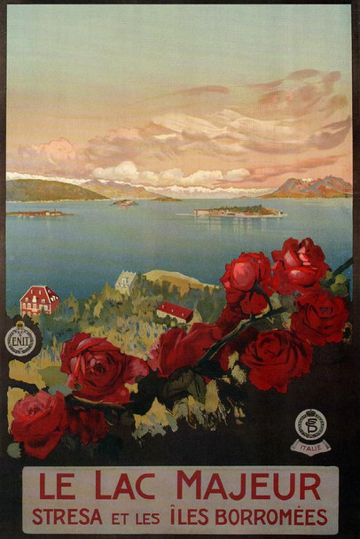 Le Lac Majeur Italy Lake Vintage Travel Poster 24x36 inch