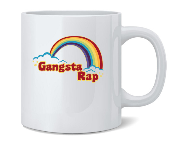 Gangsta Rap Retro Rainbow Funny Music Ceramic Coffee Mug Tea Cup Fun Novelty Gift 12 oz