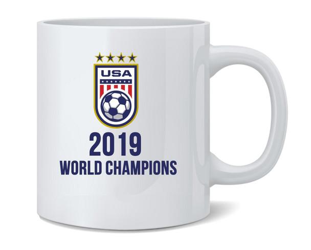 USA Soccer 2019 World Champions 4 Times Stars Coffee Mug Tea Cup 12 oz