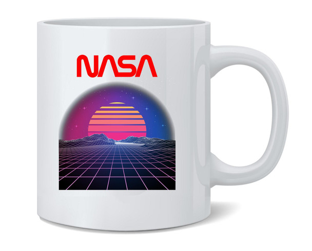 NASA Approved Retro Space Landscape 80s Electro Coffee Mug Tea Cup 12 oz