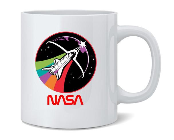 NASA Approved Shuttle Rainbow Retro Worm Logo Ceramic Coffee Mug Tea Cup Fun Novelty Gift 12 oz