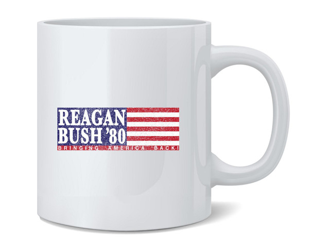 Ronald Reagan George Bush Retro Campaign Coffee Mug Tea Cup 12 oz