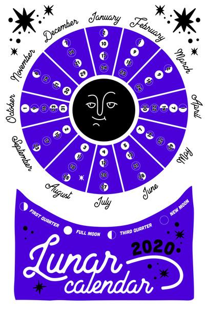 2020 Lunar Calendar Moon Phases Purple Chart Poster 12x18 Inch