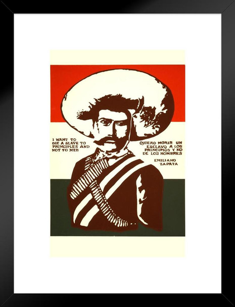 Emiliano Zapata A Slave To Principles Quote Vintage Matted Framed Wall Art Print 20x26 inch Inch