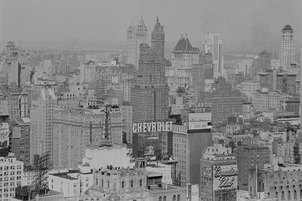 New York City NYC Skyline Black and White Aerial Archival Photograph Photo Photograph Laminated Dry Erase Sign Poster 36x24