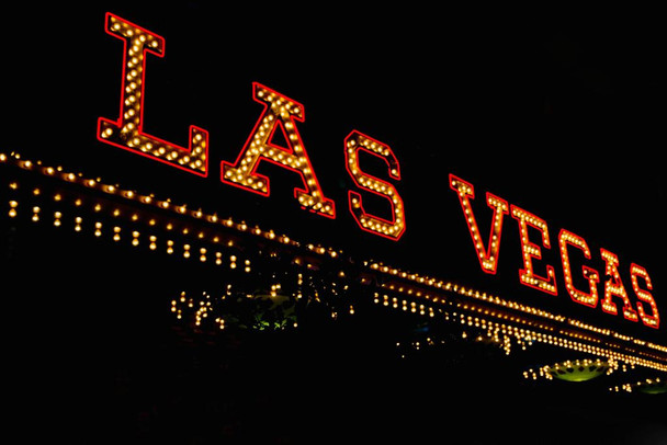 Las Vegas Nevada Vintage Neon Sign Board Illuminated Photo Photograph Laminated Dry Erase Sign Poster 36x24
