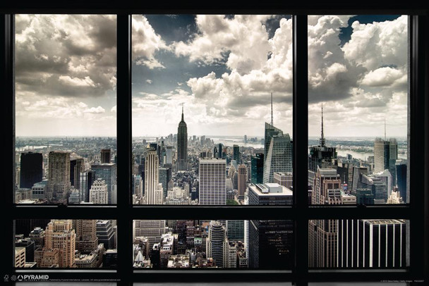 New York City Window Skyline Photo Photograph Laminated Dry Erase Sign Poster 36x24
