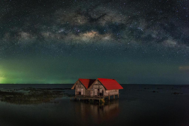 Milky Way over Abandoned House in Thailand Photo Photograph Laminated Dry Erase Sign Poster 36x24