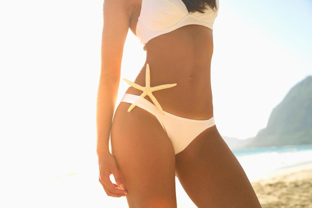 Beautiful Woman on Beach in Bikini with Starfish Photo Photograph Laminated Dry Erase Sign Poster 36x24