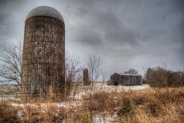 Silos in December Photo Photograph Laminated Dry Erase Sign Poster 36x24