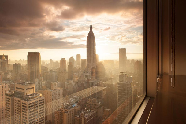 Window to the City Manhattan New York City NYC Photo Photograph Laminated Dry Erase Sign Poster 36x24