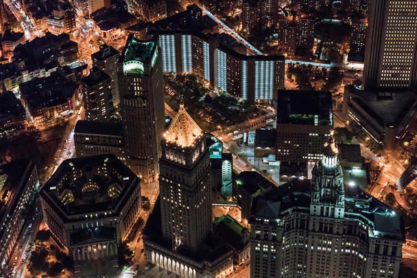 Aerial View Centre Street at Night New York City Photo Photograph Laminated Dry Erase Sign Poster 36x24