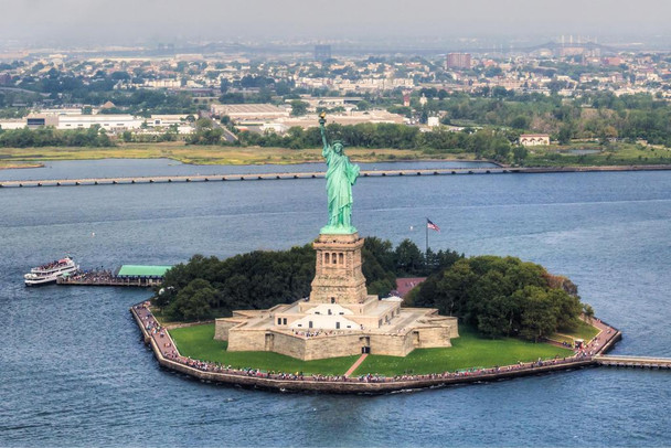 Aerial View of Statue of Liberty New York City Photo Photograph Laminated Dry Erase Sign Poster 36x24