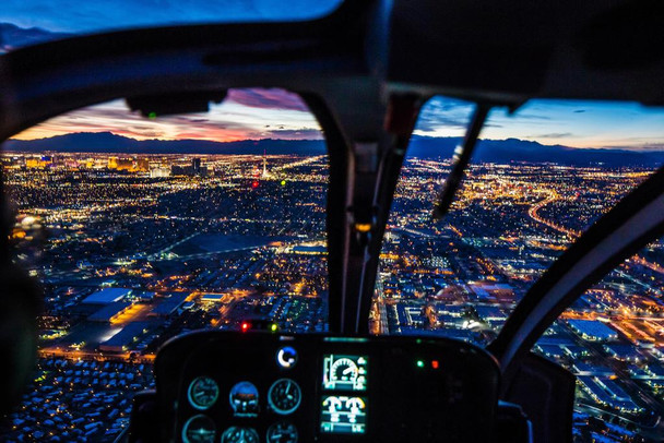 Las Vegas Nevada Skyline Sunset Helicopter View Photo Photograph Laminated Dry Erase Sign Poster 36x24