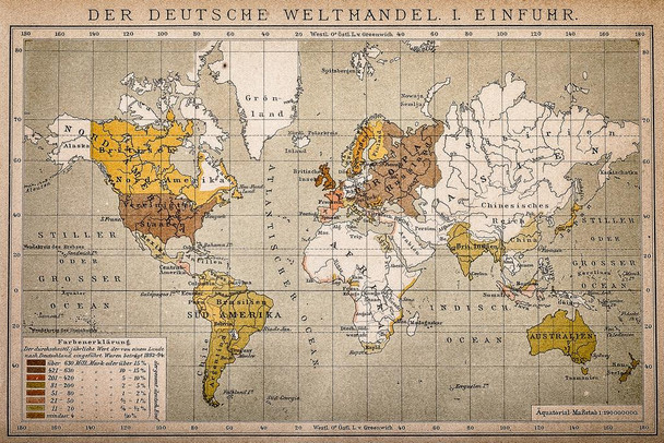 German World Trade Import Antique Style Map Laminated Dry Erase Sign Poster 36x24