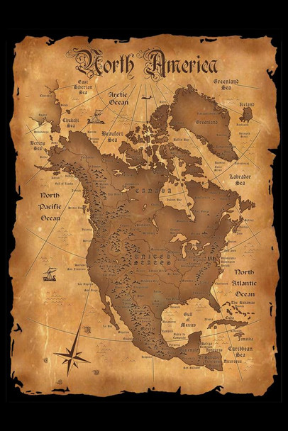North America Vintage Antique Style Map Laminated Dry Erase Sign Poster 24x36