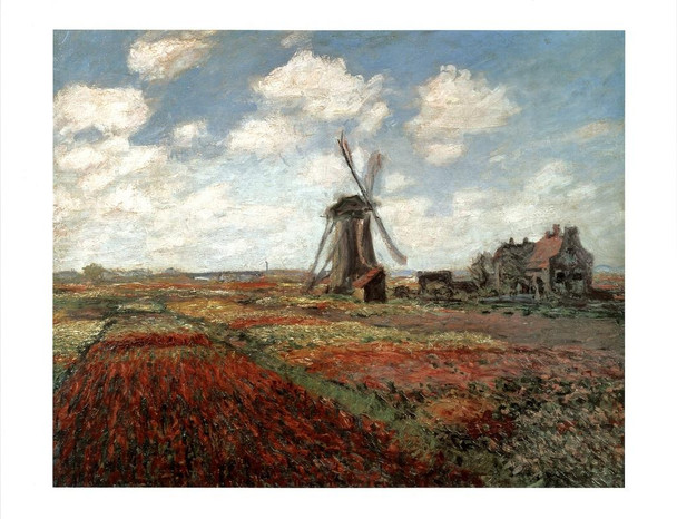 Claude Monet Field Of Tulips In Holland 1886 French Impressionist Oil Canvas Painting Laminated Dry Erase Sign Poster 24x36