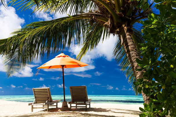 Wooden Chaise and Umbrella on Beautiful Beach Photo Photograph Laminated Dry Erase Sign Poster 36x24