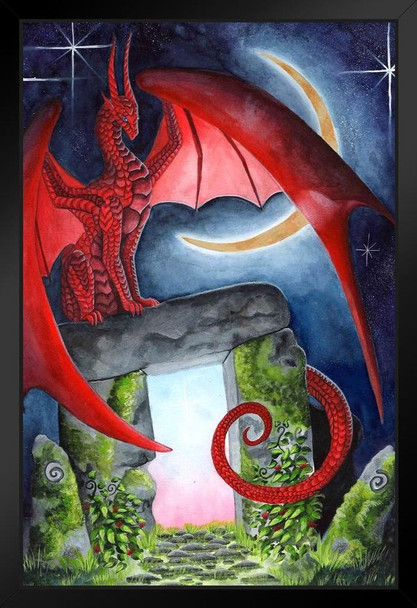 Watcher at the Morning Gate by Carla Morrow Red Dragon Stone Moon Fantasy Cool Wall Decor Art Print Black Wood Framed Poster 14x20