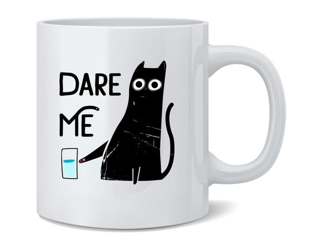 Dare Me Cat Funny Graphic Cute Ceramic Coffee Mug Tea Cup Fun Novelty Gift 12 oz
