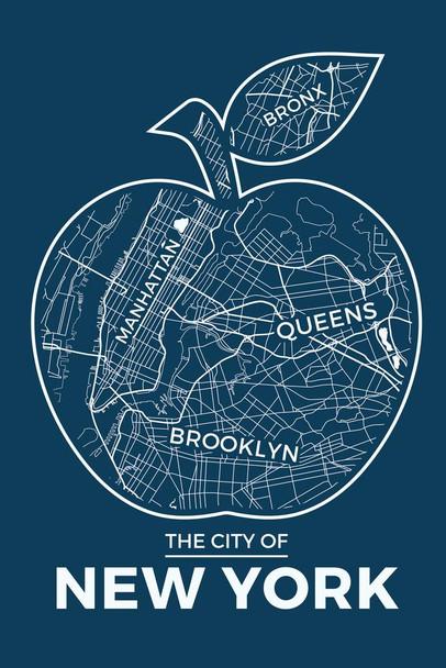 New York City Big Apple Retro Map Travel Cubicle Locker Mini Art Poster 8x12