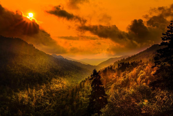 Lovely Sunset Light in Smokies Photo Photograph Cubicle Locker Mini Art Poster 12x8