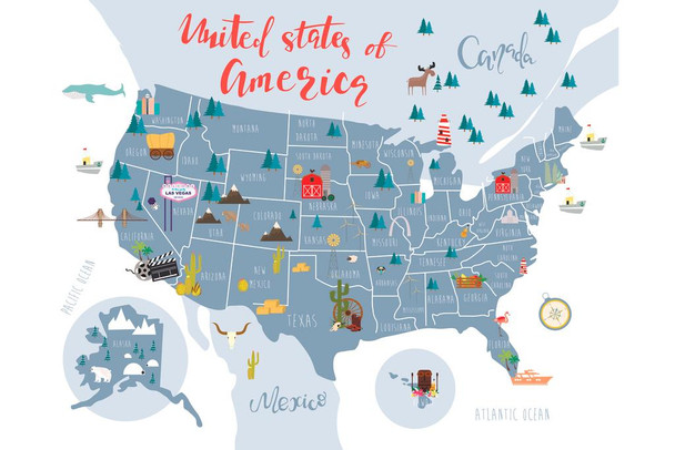 United States Of America Map With State Symbols Cubicle Locker Mini Art Poster 12x8