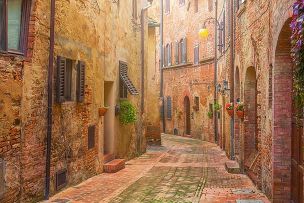 Narrow Street in Old Italian Town Tuscany Italy Photo Photograph Cubicle Locker Mini Art Poster 12x8