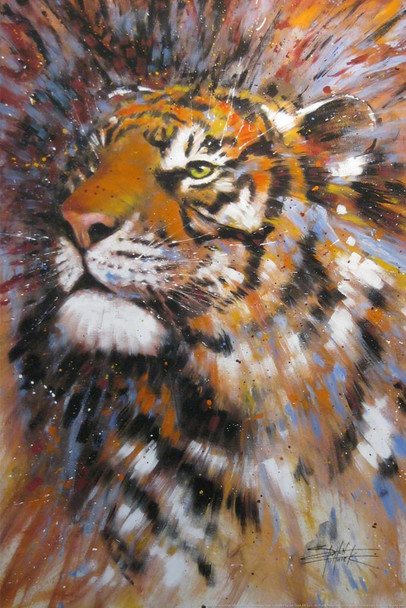Illuminated Tiger Painting by Stephen Fishwick Wild Animal Big Cat Portrait Cool Huge Large Giant Poster Art 36x54
