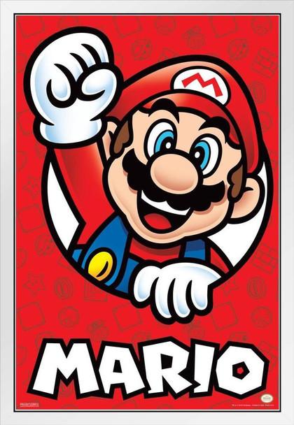 Super Mario Bros Mario White Wood Framed Poster 14x20