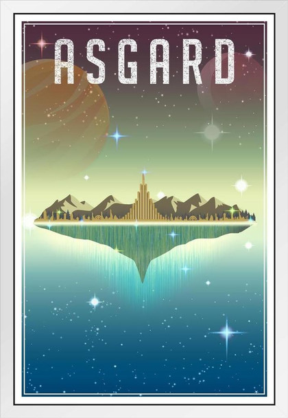 Asgard Fantasy Travel Comic Book Superhero Planet White Wood Framed Poster 14x20
