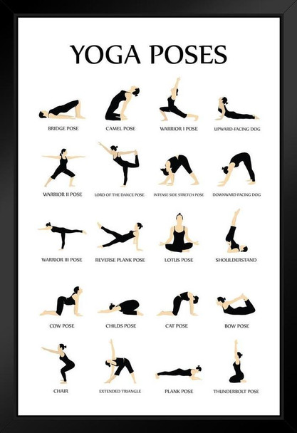 Workout Black Wood Eco Framed Prints For Home Gym Yoga Poses Reference Chart Studio Black White Poster 9x13
