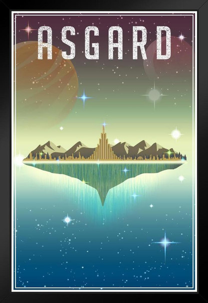 Asgard Fantasy Travel Comic Book Superhero Planet Black Wood Eco Framed Print 9x13