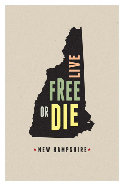 New Hampshire Live Free Or Die Granite State Motto Pride Outline Home Travel Modern Retro Vintage Style Cool Wall Decor Art Print Poster 24x36